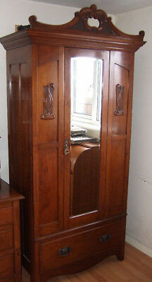 WARDROBE OLD CARVED TOP (PELAW FURNITURE) with dresser £350