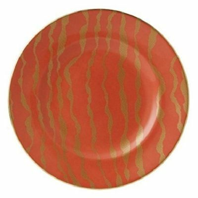 """New Royal Crown Derby 2nd Quality Ruche Bruce Oldfield Flow Coral Red 8"""" Plate"""