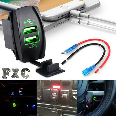 Dual USB 3.1 Power Charger Carling ARB Rocker Switch Green LED Light Car Boat RV
