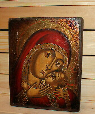 Vintage hand painted Orthodox icon Virgin Mary Christ child