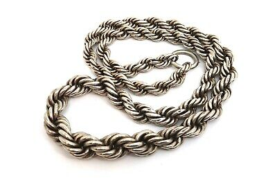 A Superb Large Rare Antique Victorian Sterling Silver 925 Rope Twist Chain#17671