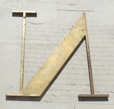 Large Antique French Brass Letter N Architectural Sign