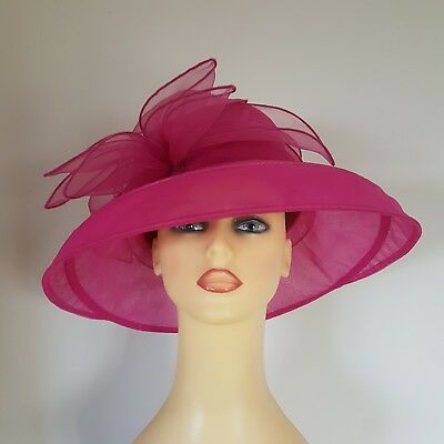 Ladies Wedding Hat Races Mother Bride Pink Chiffon Crushable Travel Seeberger