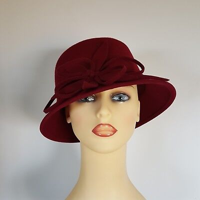 Ladies Wedding Hat Races Mother Bride Ascot Deep Berry Wool by Failsworth