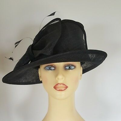 Ladies Wedding Hat Races Black Large Side Bow by Maddox England