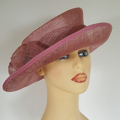 Ladies Formal Wedding Hat Races Mother Bride Dusty Pink Side Bow Angular