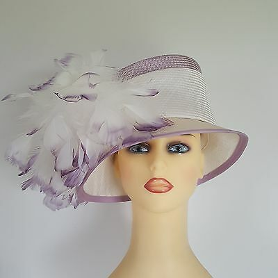 Ladies Wedding Races Hat  Ivory & Mauve Feather Cluster Gwyther Snoxell