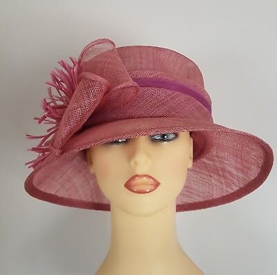 Wedding Hat Races Mother Bride Dusty Pink Pearl Chiffon Details - Free Postage