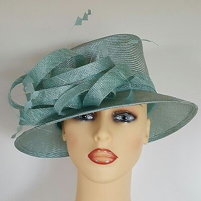 Ladies Wedding Races Mother Bride Ascot Hat Green Feathers Loops
