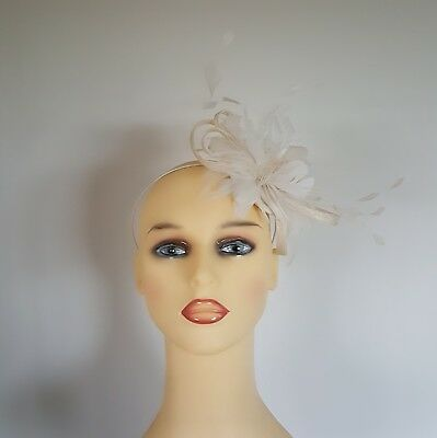 Bridal Wedding Formal Fascinator Hat Cream Ivory Feathers Sinamay Loops