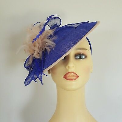 Ladies Formal Hatinator Fascinator Wedding Races Bright Blue / Nude 11 nches