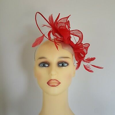 Ladies Formal Hatinator Fascinator Wedding Races Flame Red 16 Inches