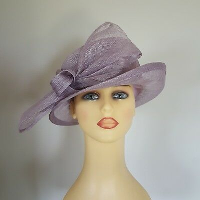 Ladies Wedding Hat Races Mother Bride Mauve Side Bow by Maddox England