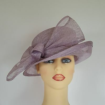 Ladies Formal Hat Wedding Races Mother Bride Mauve by Maddox England