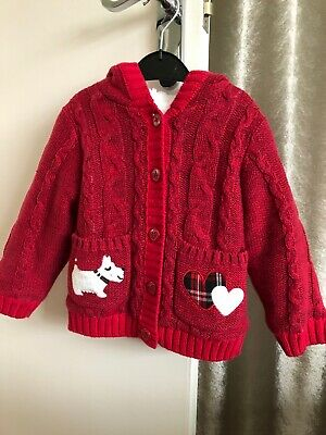 girls Hooded Red cardigan 12-18 months Nutmeg 100% Cotton Lining