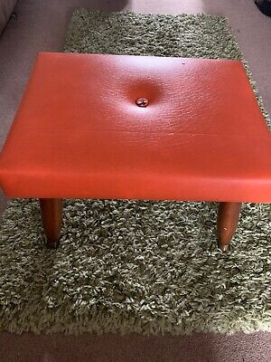 Vintage Footstool / dressing table- Faux Leather Cover With wooden legs