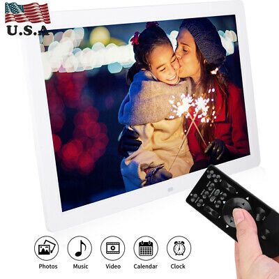 """12/15.4/17"""" HD LED Digital Photo Picture Frame Electronic Album Clock+Remote"""