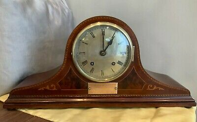 ANTIQUE NAPOLEON HAT CHIMING MANTLE CLOCK ( WORKING ) T.E Russell 1928 & Key