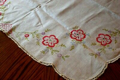 Vintage Hand Embroidered Tablecloth Table Topper Floral