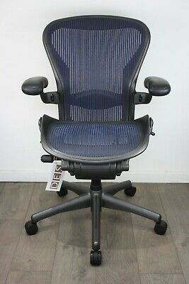 UK & EU Delivery | Herman Miller Aeron Chairs | Blue Mesh | NEW Lumbar Support