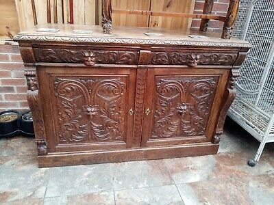 Victorian Gothic Carved Solid Oak Sideboard