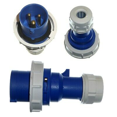 16A 3 Pin Plug IP67 Waterproof 2P+E 230V Fast-Fit 16 Amp Blue Marina Caravan
