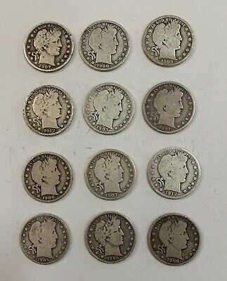 12-Barber Half Dollar-$6.00 Face Value ,Mixed Dates And Mixed Mint Marks