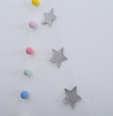 15 Pcs 7cm PU Sliver Pentagonal star ornament for Children's room living room