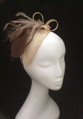 Beige & Brown Fascinator - Latte Chocolate Vintage Style Wedding Races Cocktail