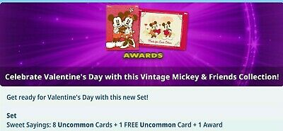 Topps Disney Collect Card Valentine Day Mickey & Friends Sweet Sayings Set of 8