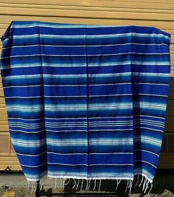 Serape XXL,5' X 7',Mexican Blanket,HOT ROD, Seat Covers,Motorcycle, BRIGHT BLUE