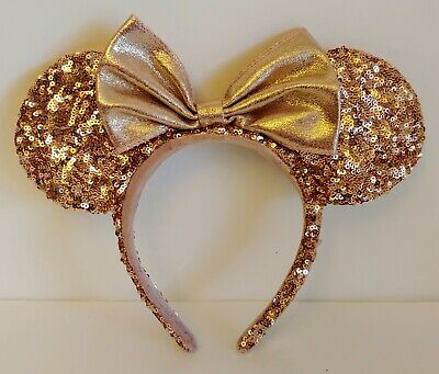 Disney Parks Minnie Mouse Ears Headband ROSE GOLD Sequin - RETIRED
