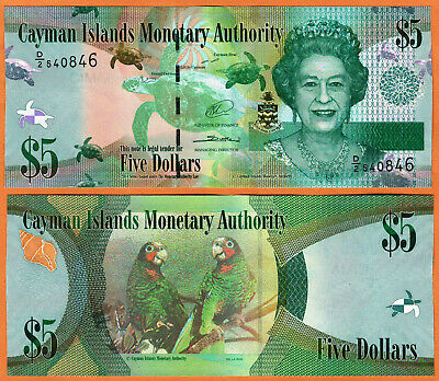 CAYMAN ISLANDS 2014 UNC 5 Dollars Banknote Paper Money Bill P- 39b