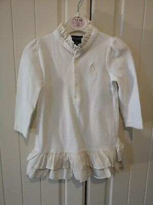 Ralph Lauren baby girls long sleeved polo dress & knickers. Age 18 months