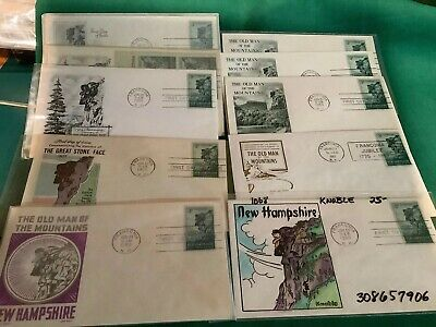 10 FDC Old Man Of The Mountains. Hand-Ptd. 1955 Knoble, Fleetwood, Etc. Cachets