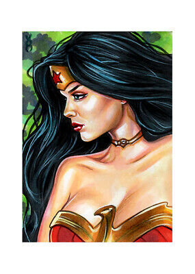Veronica O'Connell - WONDER WOMAN sketch card DC comic sexy pin-up girl ART PSC