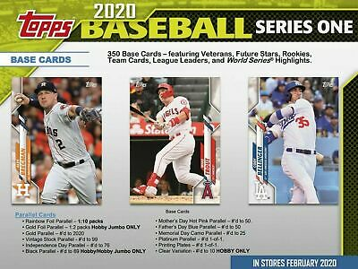 Topps Baseball 2020 Series 1 Complete Set of 350 Base Cards 1-350