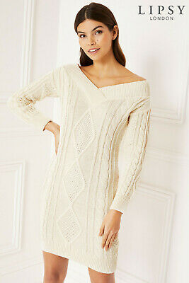 Lipsy Off The Shoulder Cable Knit Jumper Dress Size 16 New
