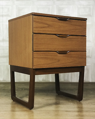 MID CENTURY Teak Veneer Europa Chest Of Drawers - Retro Bedside *£55 DELIVERY*