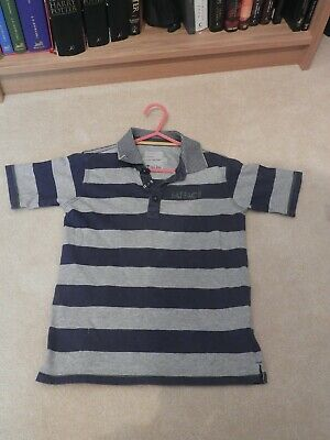 Boys Short Sleeved, Navy Blue & Grey Striped, Collared T-Shirt by Fat Face. 8- 9