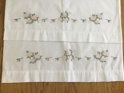 Vintage Pair Pillowcases Hand Embroidered Floral In Peach Green Gray
