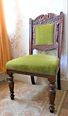 Antique Carved Mahogany Chair Victorian Dining / Occasional or Bedroom, Glasgow