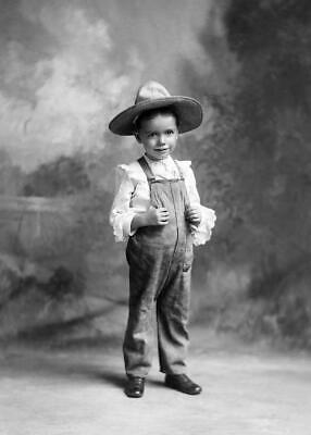 Antique Photo ... Victorian Boy Coveralls Straw Hat ... Photo Reprint 5x7