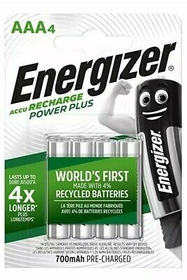 Energizer Recharge Power Plus Rechargeable AAA Batteries, 4 Pack 700MaH