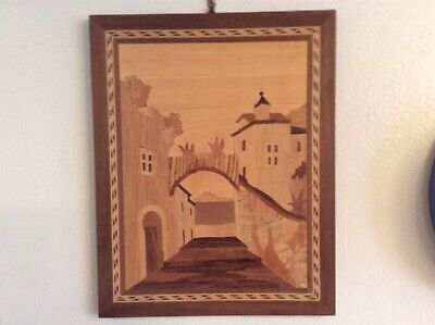 Vintage Italian Inlaid Marquetry Wood Picture Wall Hanging Plaque Italy Notturno