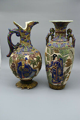 "Pair of Stunning Hand Enameled Chinese Cloisonne Vases, 13"" T, 5-6"" Wide"
