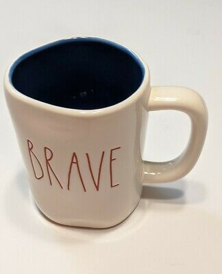 Rae Dunn Brave Mug Red Lettering with Blue Interior New
