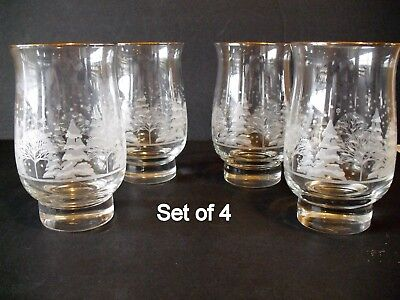 4 Libbey Christmas Winter White Frosted Pine Trees Tumblers Glasses Arby's