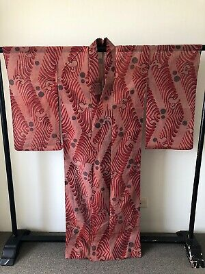 Vintage Japanese Woven Silk Unlined Furisode Kimono Robe Hand Made Costume