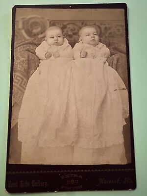 Antique Cabinet Card Photo Victorian TWIN BABIES in Christening Gowns Macomb ILL
